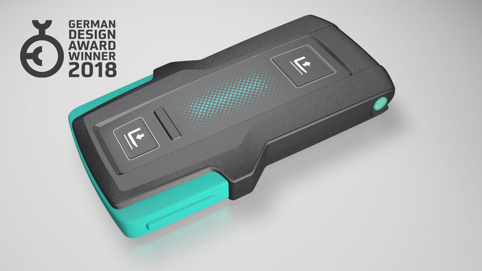 usability concept, industrial design and CAD surface modelling for Jungheinrich easypilot remote control for order picker wins German Design Award 2018